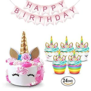 Unicorn Cake Topper & Rainbow Cupcake Wrappers Kit (Set Includes Horn, Ears, Eyelashes) + Happy Birthday Banner Decor…