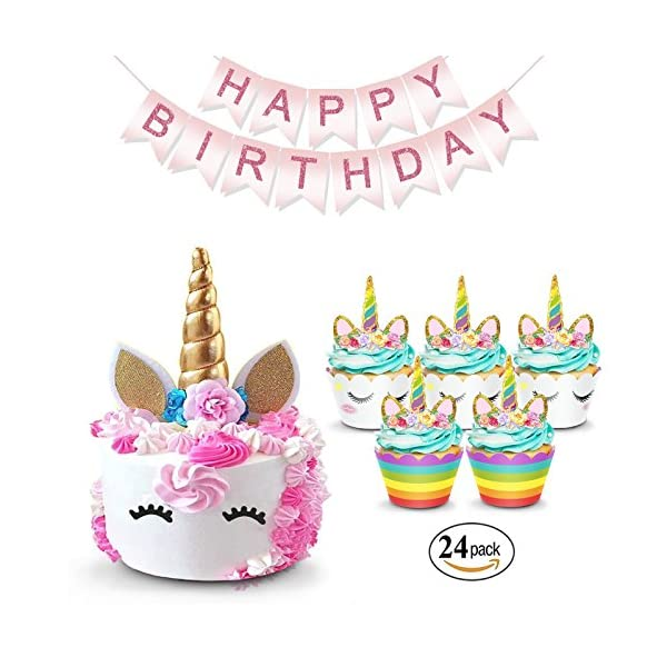 Unicorn Cake Topper & Rainbow Cupcake Wrappers Kit (Set Includes Horn, Ears, Eyelashes) + Happy Birthday Banner Decor… 3