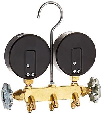 "Yellow Jacket 42044 Heat Pump Manifold with 60"" Black Plus II 1/4"" Hoses, R-22/407C/410A"