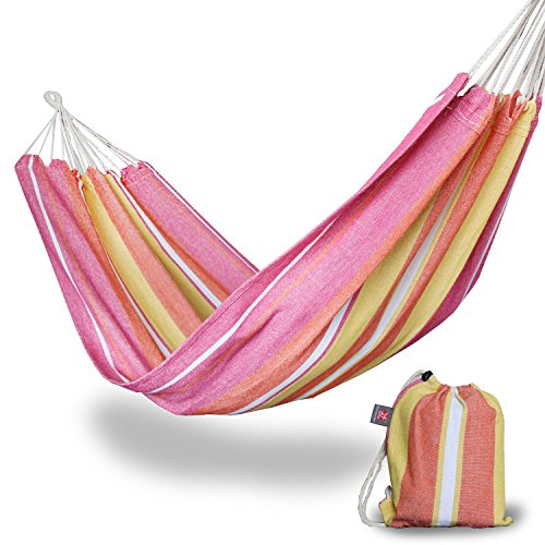 Portable Single Camping Hammock - BOS Lightweight Polycotton Outdoor Hammock for Backpacking, Hiking, Travel, Beach, Patio, Yard - Pink Colorful Stripes