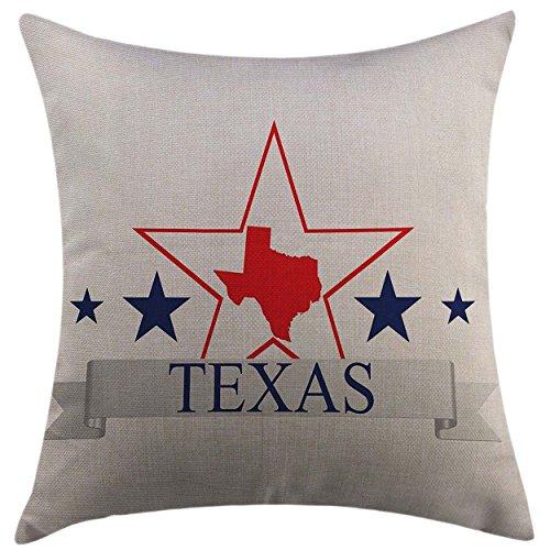 (Mugod Home Decorative Throw Pillow Cover Texas Star San Antonio Dallas Houston Austin Map with Stars Pattern USA Navy Blue Vermilion Pale Grey Pillow case 18x18 Inch)