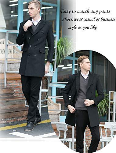 FTCayanz Manteau Homme Laine Trench Classique Business Parka Décontracté Mi-Longue Duffle-Coat