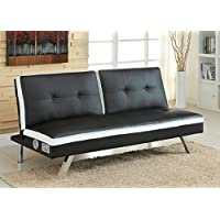Harley collection contemporary style two tone white and black leatherette futon sofa bed with chrome legs and blue tooth speaker system