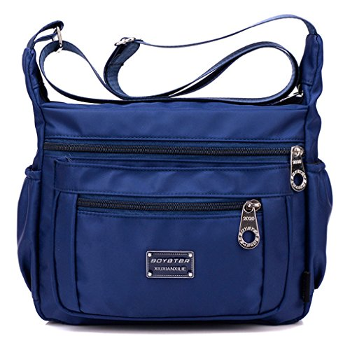 impermeable de Azul Bolsa B Bolsa viajes Mujer mensajero Tibes hombro Moda Profundo nylon de PUrse de Organizar ZUtHH8n
