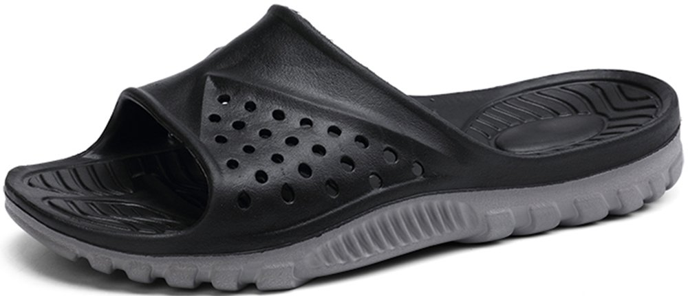 Phefee Mens Slide Sandals Anti-Slip Lightweight Bathroom Shower Slipper(Black48)