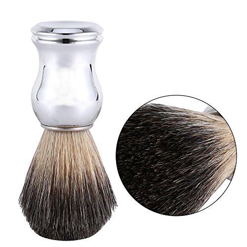 Shaving Brush, Men's Fashionable Shaving Brush Face Cleaning Tool Faux Badger Hair & Silver Plastic Handle