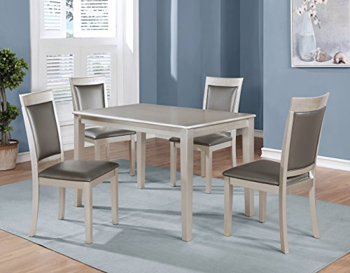 Avignon Table Dining (Roundhill Furniture T215-C215-C215 Avignor 5-Piece Contemporary Simplicity Dining Set with 4 Chairs)