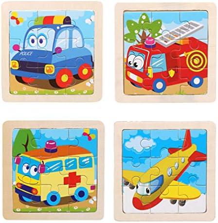 PROW® 9 PCS Animal Rompecabezas de Madera 4 Pack Incluye Aviones Ambulancia Coche de policía Camión de Bomberos Rompecabezas Educativo para niños en Edad Preescolar Inspirar Juegos de imaginación: Amazon.es: Juguetes y
