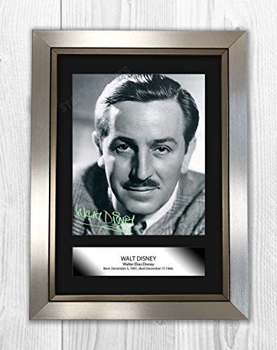 Engravia Digital Walt Disney Poster Signed Autograph Reproduction Photo A4 Print (Silver Frame) Artist Signed Autograph Photo