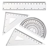 SUBANG Stainless Steel Drawing Compass and 4 Pieces Ruler Set Geometry Set Math Geometry Tools, Total 5 Pieces