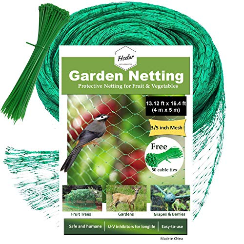 HSelar Best Bird Netting - Protect Plants and Fruit Trees from Birds and Wildlife - 13.12Ft x 16.4Ft Bird Netting with 50 Pcs Nylon Cable Ties - Reusable Instantly (Small Size)