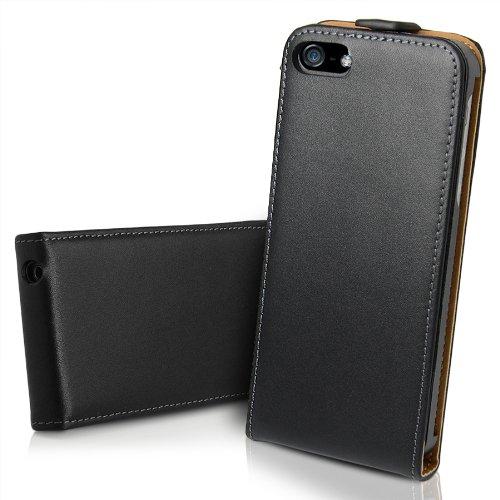 iKase Étui fin à rabaten cuir véritable souple et 2 protections d'écran pour iPhone 6S/6