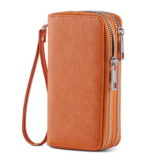 HAWEE Cellphone Wallet Dual Zipper Wristlet Purse with Credit Card Case/Coin Pouch/Smart Phone Pocket Soft Leather for Women or Lady, Orange by HAWEE