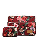 Canvaslife Burgundy red Roses Pattern 360 Degree Protective Waterproof Laptop Sleeve 15 Inch 15 Case and 15.6 Laptop Bag