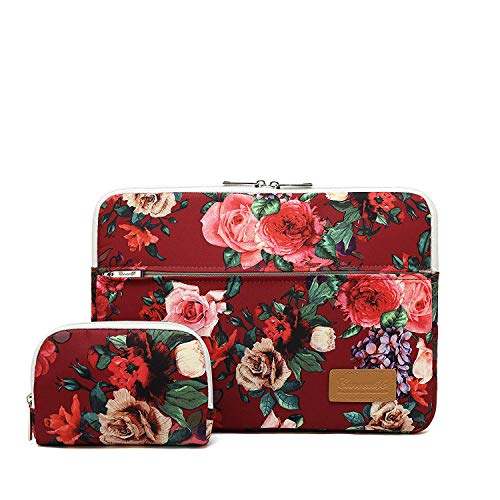 Canvaslife Burgundy red Roses Pattern 360 Degree Protective Waterproof Laptop Sleeve 15 Inch 15 Case and 15.6 Laptop Bag ()