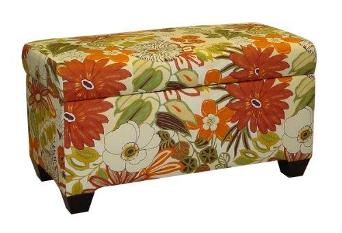 Skyline Furniture Walnut Hill Storage Bench in Lilith Marigold Fabric