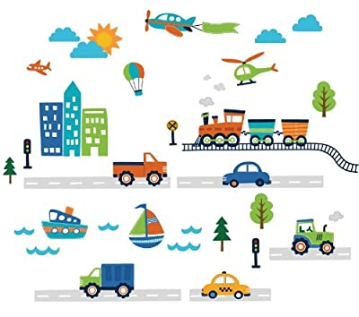 CherryCreek Decals Transportation and City Scene Kids' Room Peel and Stick Wall Sticker Decals