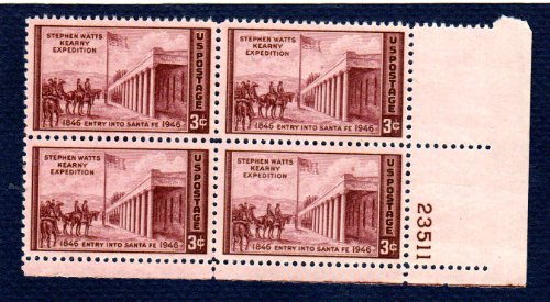 3 Cent Postage Stamp (Postage Stamps United States. Plate Block #23511 of Four 3 Cents Brown Violet, Capture of Santa Fe, by Kenneth M. Chapman, Kearny Expedition Stamps, Dated 1946, Scott)