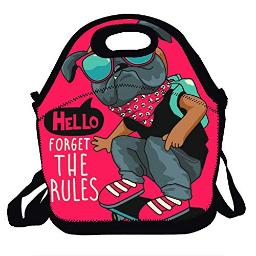 (Amuseds Skateboard vector illustration Decorative Reusable Unique Lunch Handbags Portable Lunch Tote Food Container Gourmet Tote Cooler Warm Pouch for School Work Office)