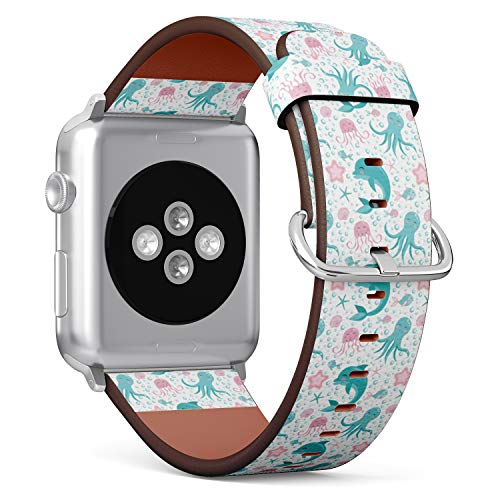 (Cute Undersea World Pattern with sea Animals Octopus, Dolphin, Jellyfish and Starfish.) Patterned Leather Wristband Strap for Apple Watch Series 4/3/2/1 gen,Replacement for iWatch 38mm / 40mm Bands