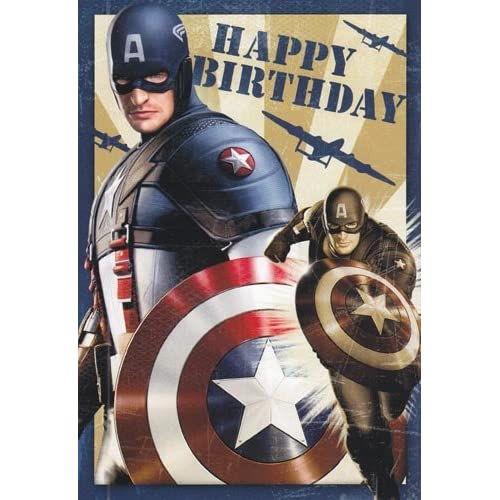 "Amazon.com: Greeting Card Birthday Captain America ""Happy"