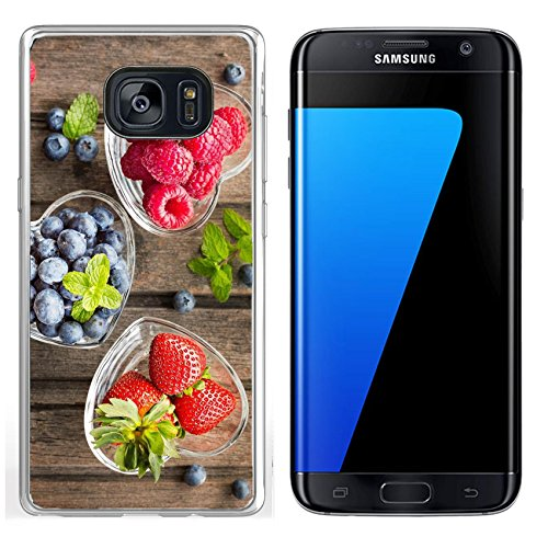 Luxlady Samsung Galaxy S7 Edge Clear case Soft TPU Rubber Silicone IMAGE ID: 41294551 Mix of fresh berries in three glass ramekins in shape of heart on wooden background top vi ()