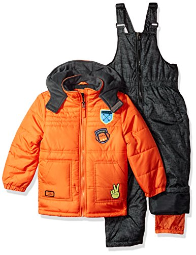iXtreme Boys' Toddler Active Colorblock Snowsuit, Orange Quilted 2T