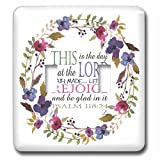 3dRose TNMGraphics Scripture - Psalm 118 Floral Wreath This is the Day the Lord Has Made - Light Switch Covers - double toggle switch (lsp_286314_2)