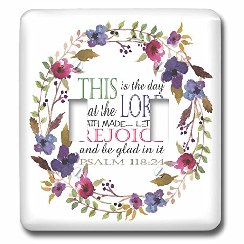 3dRose TNMGraphics Scripture - Psalm 118 Floral Wreath This is the Day the Lord Has Made - Light Switch Covers - double toggle switch (lsp_286314_2) by 3dRose