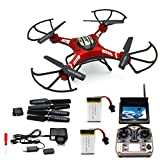 LANDVO® JJRC H8D Red 6 Axis 2.4G Gyro RC RTF Quadcopter Drone Helicopter with 5.8G 2.0MP HD Camera & Transmitter FPV Monitor Real Time Transport Video Headless Mode & 3D mode & 2G SD Card with 2 Spare Batteries WITH LANDVO LOGO