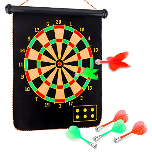 Yalis Premium Magnetic Dart Board Set, 15 Inchese Double Sided Dartboard Hanging Safety Dartboard with 6 PCS Dart Flights