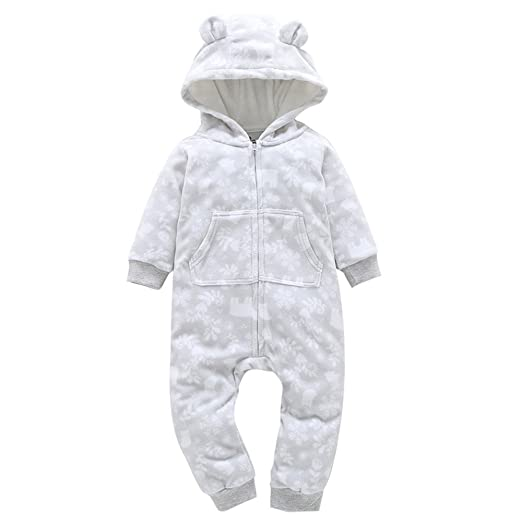 f0b9cfd783a Baby Boys Girls Outfit Set Thicker Print Hooded Romper Halloween Jumpsuit  Hat (0-6