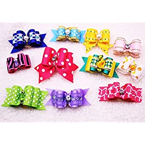 Yagopet Dog Hair BowsTopknot Hot Mix Styles Pairs Rhinestone Crown Bows Dog Topknot Bows Pet Dog Grooming Bows Pet Supplies Hair Accessories (20PCS)
