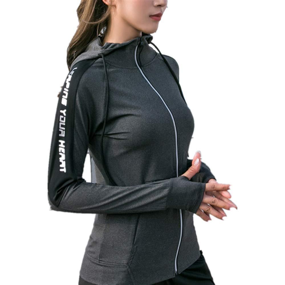 FFDFZD Sport Jacke Frauen Daumen Löcher Hoodies Reflektierende Reißverschluss Gym Hoodie Yoga Jacke Training Fitness Sport Mantel Laufbekleidung