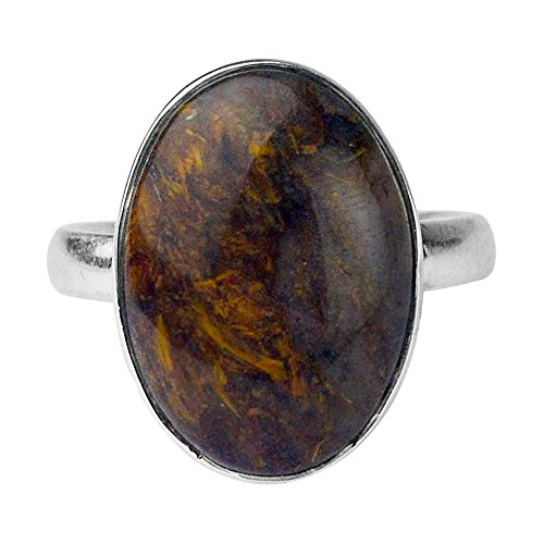 Sterling Picasso Silver Jasper (925 Sterling Silver picasso jasper gemstone Ring Size 7.5 US 4.81 g)