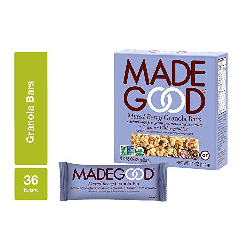 MadeGood Mixed Berry Organic Granola Bars, 6 Pack (36 Bars); Allergy-Friendly, Nut-Free, Gluten-Free; Vegan and Non-GMO Certified; Nutrients Equal to a Serving of Vegetables; Ethically-Sourced