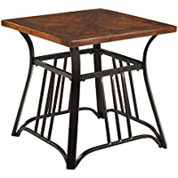 Ashley Furniture Signature Design - Zanilly End Table - Contemporary Metal Frame with Two-tone Wood Tabletop