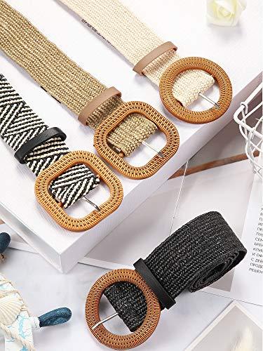 4 Pieces Straw Woven Elastic Stretch Waist Belt Women Skinny Dress Belt Wooden Style Buckle Waist Dress Band