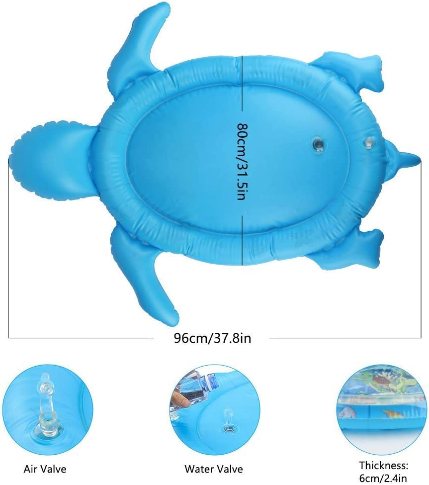 40X33in,Blue Baby Water Mat Infant Toy Inflatable Baby Play Mat for Baby to Play on Floor Early Development Activity Turtle Shape Play Mat for Kids 3 6 9 24 Months WIOR Tummy Time Water Play Mat