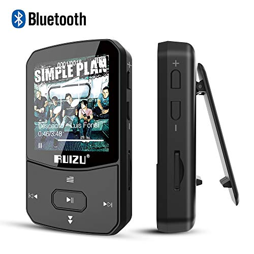 Clip Mp3 Player with Bluetooth 4.1 8GB Lossless Sound Music Palyer with FM Radio Voice Recorder Video Earphones for Running,Support up to 128GB(Black)