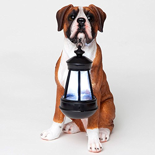 Bits and Pieces – Boxer Solar Lantern – Solar Powered Garden Lantern – Resin Dog Sculpture with LED Light – Outdoor Lighting and Décor