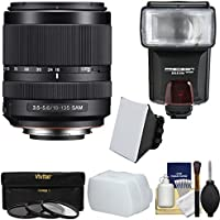 Sony Alpha A-mount 18-135mm f/3.5-5.6 ED SAM Zoom Lens with 3 Filters + Flash & 2 Diffusers + Kit for A37, A58, A65, A68, A77 II, A99 Cameras