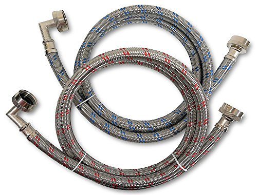 Burst Free Washing Machine Hose - Premium Stainless Steel Washing Machine Hoses with 90 Degree Elbow, 5 Ft Burst Proof (2 Pack) Red and Blue Striped Water Connection Inlet Supply Lines - Lead Free