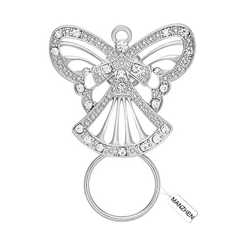 Glass Silver Brooch - MANZHEN Crystal Guardian Angel Strong Magnetic Eyeglass Holder Clip Brooch for Shirt(Silver)