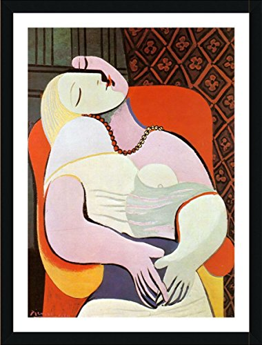 Picasso Canvas Frame (Alonline Art - The Dream Pablo Picasso Black FRAMED POSTER (Print on 100% Cotton CANVAS on foam board) - READY TO HANG | 30