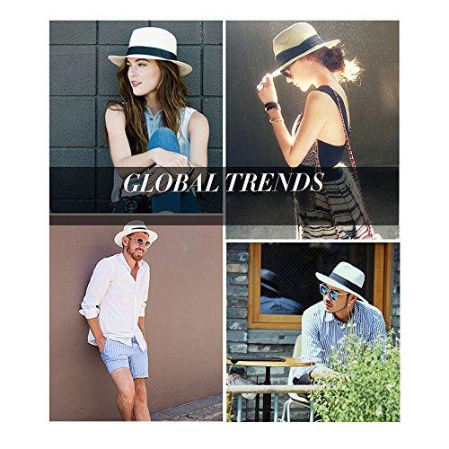 YUUVE Panama Hat Women Wide Brim Straw Sun Hat Floppy Fedora Beach Cap Straw For Ladies