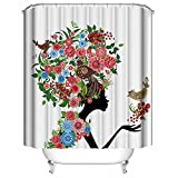 ALDECOR Woman Shower Curtain Sexy Women Floral Head Pattern Waterproof Mildew Resistant Bath Curtain with 12 Hooks 72x72 inch