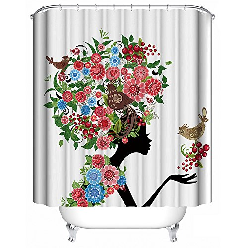 ALDECOR Woman Shower Curtain Sexy Women Floral Head Pattern Waterproof Mildew Resistant Bath Curtain with 12 Hooks 72x72 inch by ALDECOR