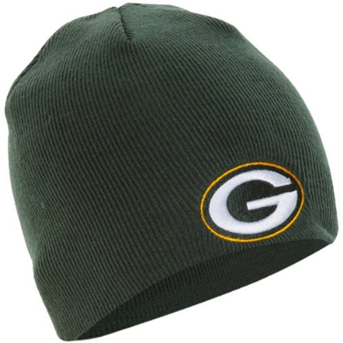 Embroidered Reebok Cap (Reebok NFL Green Bay Packers Official Winter Knit Beanie Skully Hat Cap)