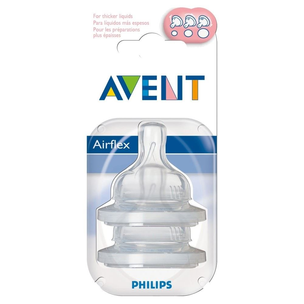 Avent Airflex Silicone Teats - Variable Flow 3mth+ (2) - Pack of 6
